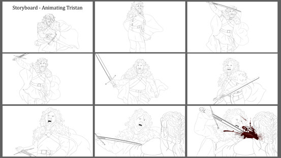 Animation Storyboard - Tristan (line Drawings)