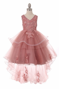 Little girl high lo dress shown in rose.  Longer tulle with flowrs train.