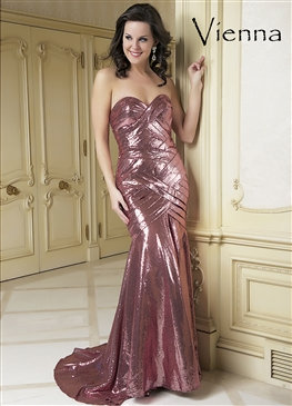 Strapless Pink Sequin Dress
