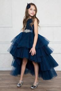 Little girl hi lo navy blue tulle dress