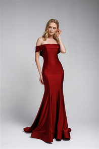 High quality stretch satin dress in burgundy, off the shoulder styling