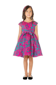 Little girl teal and hot pink dress