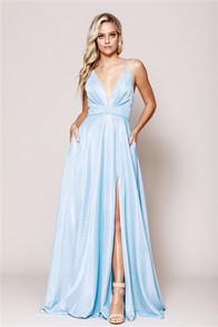 Light blue sparkle dress with corset back, front slit, and pockets