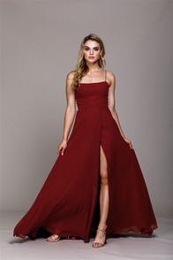 Bridesmaid, evening burgundy dress with back corset, and front slit