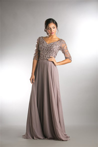 Lovely Mother of the Bride dress with fully beaded bodice and 3/4 sleeves - chiffon skirt - shown in rose