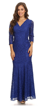 Fitted 3/4 Sleeve Lace Dress
