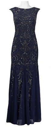 Navy blue beaded gown