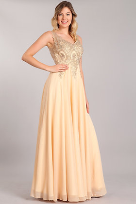 Chiffon Dress with Gold Embroidery