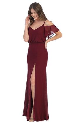 Ruffled Chiffon Sheath Dress