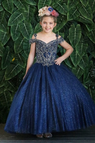 Little girls navy blue glittery tulle dress