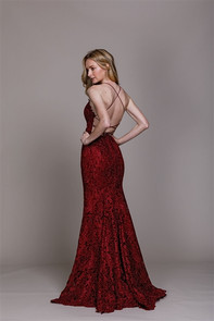 Back view of lace dress