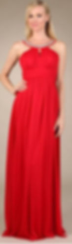 Model in long red halter dress