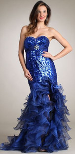 Strapless sequin and ruffle open front dress.  Corset back  Available size: XS (4)  Was: $399 NOW: $299