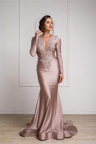 Long sleeve dress with front embellishment, horsehair hem, in stretch satin