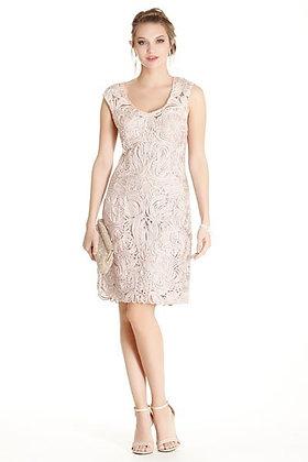 Rose Soutache Sheath Dress