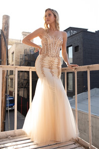 Strapless  beaded mermaid dress with tulle skirt, back corset (comes with optional spaghetti straps.)