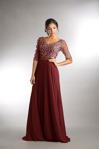 Lovely Mother of the Bride dress with fully beaded bodice and 3/4 sleeves - chiffon skirt - shown in burgundy