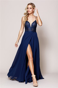 Beautiful tone on tone navy blue dress with front slit, tone on tone stones on bodice - back  corset and zipper