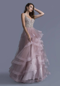 fully beaded bodice, tulle skirt - in mauve. Available in more colors by special order