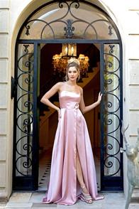 Rose satin dress with corset back