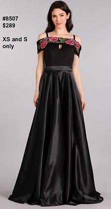 Black satin ballgown