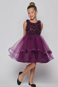 Little gir plum dress with tulle skirt and flowr bodice