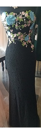 Lace Dress with Floral Embroidery