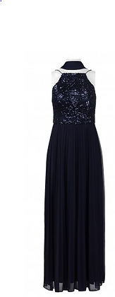 Navy Blue Bleated Gown
