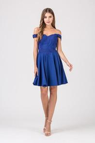Royal blue off shoulder short dress