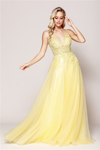 Yellow sleeveless tulle dress with lace bodice