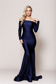 Long sleeve off the shoulder tight fitting dress.  Made from a high quality stretch satin fabric with a horsehair hem - back zip.  Available in more colors.
