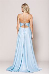 Back view of light blue sparkle dress with pockets