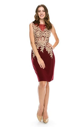 Fitted Dress with Gold Embroidery