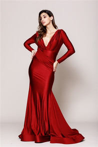Long sleeve dress in high quality stretch satin fabric, deep v neck, ruched front