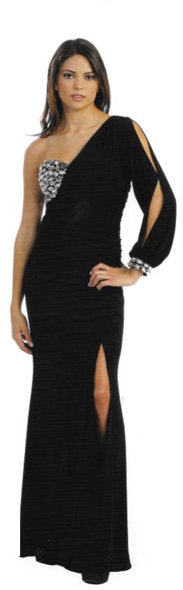 #6139 Black - one sleeve dress - sizes: XS, Small