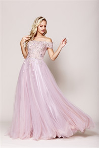 Princess Dress! Lovely tulle dress with off the shoulder styling - embellished with flowers and crystals