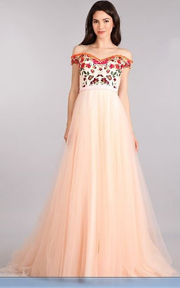 Blush Tulle  Dress with Floral Embroidery