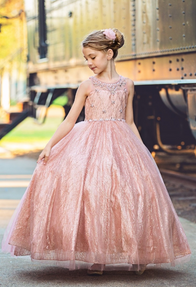 Little girl rose gold dress with corset back - sizes 2 - 16