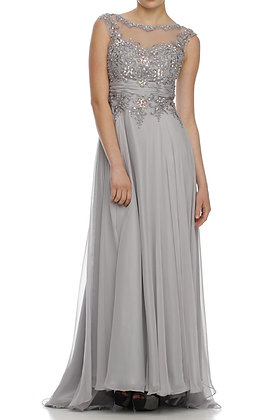 Beaded Silver Gown