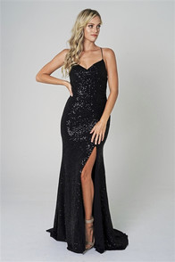 Black sequin dress - side starburst design adds drama, and defines the waist.  Open corset back with zipper at waist.