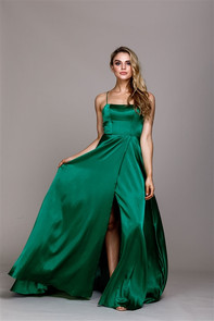 Emerald satin evening gown or bridesmaid dress with front slit and back corset lace up
