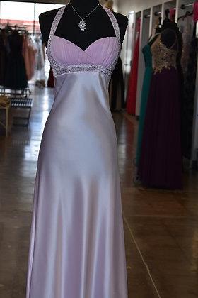 Pink Satin Halter Dress