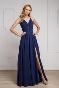 High qulaity bridesmaid or evening dress with corset back, and front slit