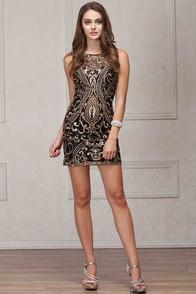 Black gold embroidered short dress