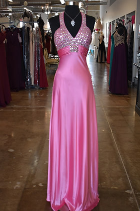 Pink Satin with Beaded Bodice