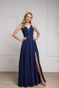 Navy blue dress with corset back and front slit