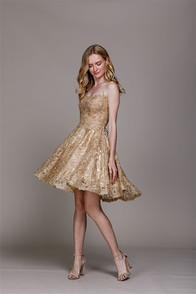 Gold lace dress with open corset back