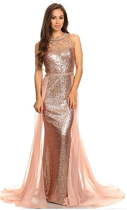 Beaded Sequin Gown