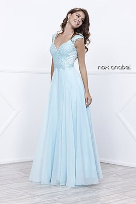 Ice Blue Chiffon Beaded Gown