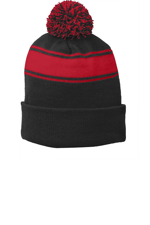 Sport-Tek® Stripe Pom Pom Beanie. STC28